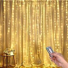 DazSpirit Led-lichtgordijn, 3 m x 3 m, 300 leds, USB-lichtketting, warmwitte raamverlichting met 8 modi, gordijn lichtkett...