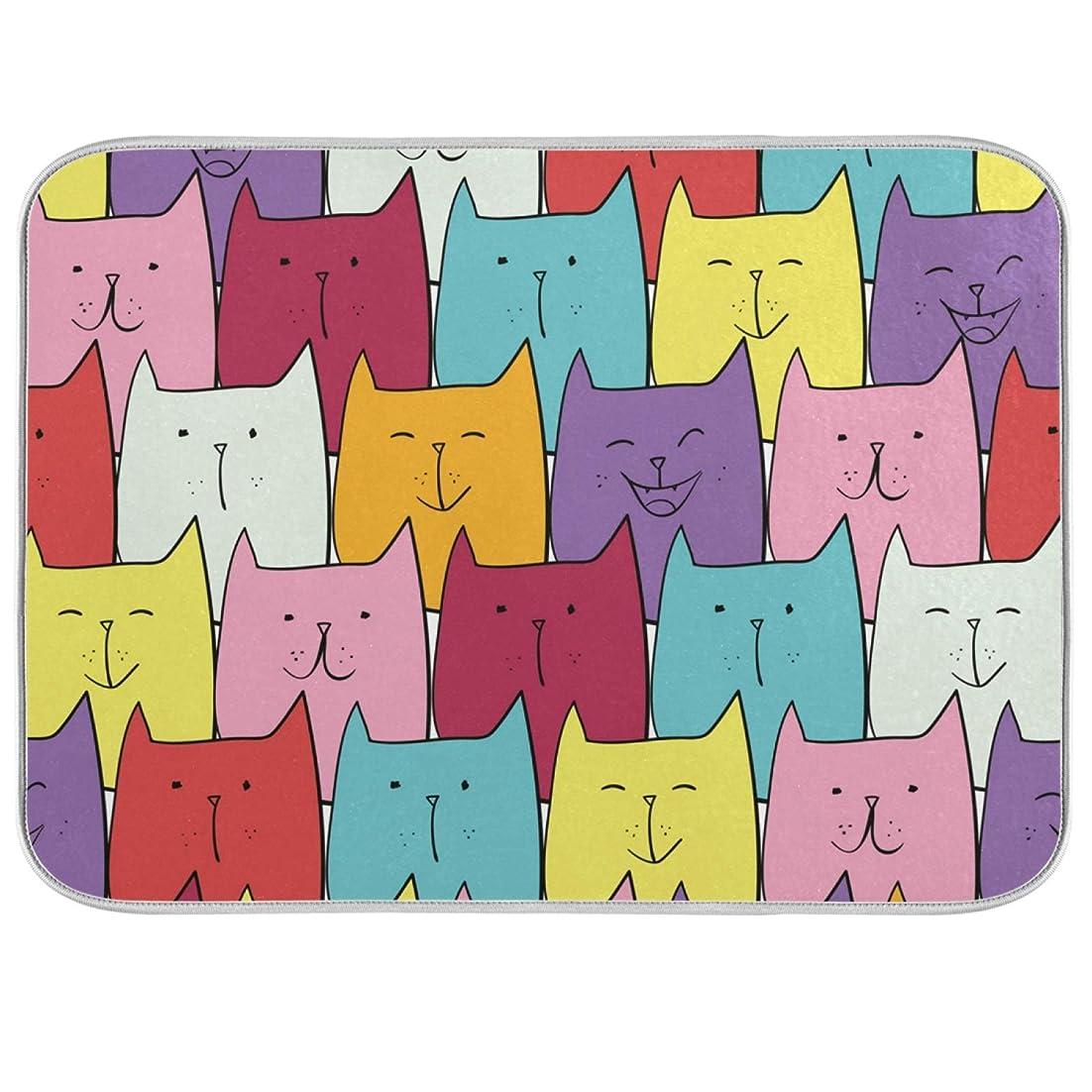 正当な皿割合【VAWA】 水切りマット キッチン 食器 プレースマット 大判 洗える かわいい 猫柄 漫画 ドライングマット 鍋敷き 水切りシート パターン 台所