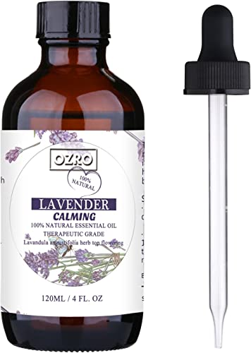 OZRO Lavender Essential Oil Diluted With Almond Carrier Oil - 100% Natural blended oils - Therapeutic Grade aromather...