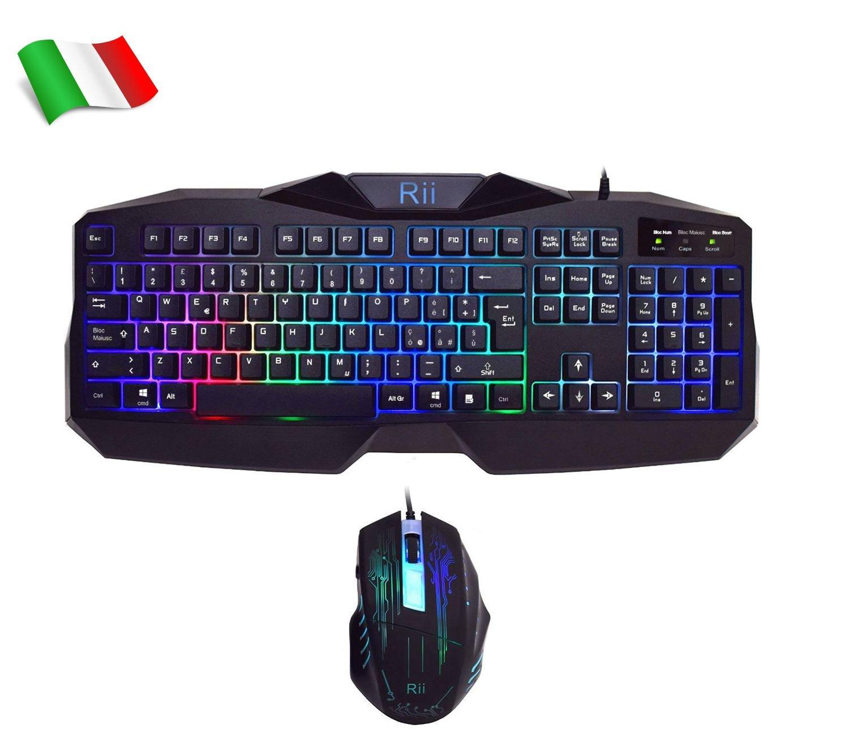 Rii - Gaming RK400: Teclado italiano para juegos + Ratón 2000 DPI, con retroiluminaciónn LED de 7 colores (disposición de teclado italiana): Amazon.es: Informática