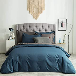 SUSYBAO 3 Pieces Duvet Cover Set 100% Natural Cotton King Size 1 Duvet Cover 2 Pillow Shams Teal Blue Luxury Quality Super Soft Breathable Durable Fade Resistant Solid Bedding with Zipper Ties