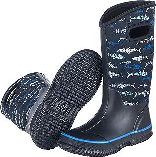 WTW أحذية المطر المطاطية المقاومة للماء من النيوبرين للأطفال أحذية المطر الشتاء الدافئة الخارجية المتينة للأولاد