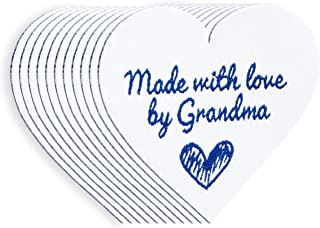 Wunderlabel Made with Love by Grandma Iron On Heart Woven Clothing Label Tags Craft Art Fashion Granny Grandmother Nana Clothes Ribbon Sewing Garment Fabric Material, Blue on White 40x35 mm 25 Labels