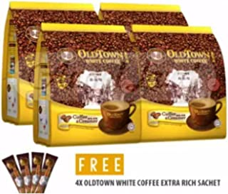 4 Pack Old Town White Coffee 2 in 1 Coffee and Creamer ( 60 Sticks ) Free 4 Extra Sachets