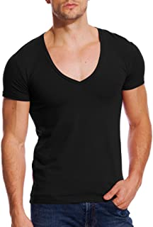Deep V Neck Shirts Men V Cut Tee Short Sleeve Stretch T Shirt Vee Top