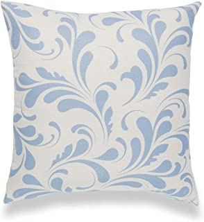 Hofdeco Coastal Decorative Throw Pillow Cover ONLY, for Couch, Sofa, Bed, Sky Blue Floral, 18x18