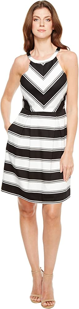 Adrianna Papell Printed Stripe Stretch Cotton Halter Neck Fit and Flare Dress