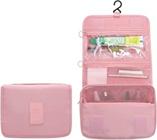 New Hanging Toiletry Bag Bathroom Organizer Travel Nylon Portable Cosmetic Bag for Women and Men (Pink)