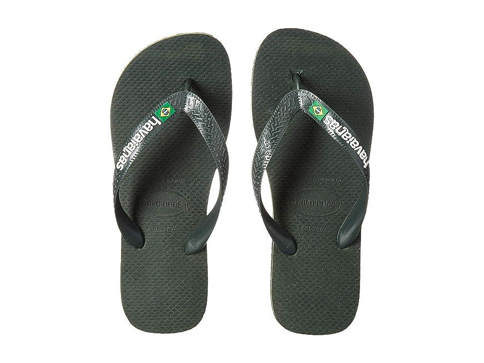 874462448 Havaianas Brasil Logo Unisex Flip Flops (Olive Green) Women