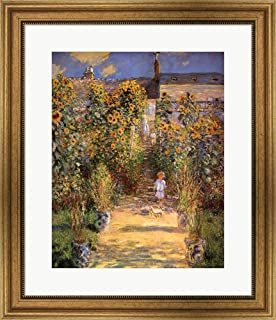 The Artist's Garden at Vetheuil with Boy, c.1880 by Claude Monet Framed Art Print Wall Picture, Wide Gold Frame, 23 x 26 inches