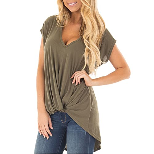 faa7cc79 Blooming Jelly Women's Short Sleeve Plunge Deep V Neck Shirt Pleated HI Low  Top Knotted T