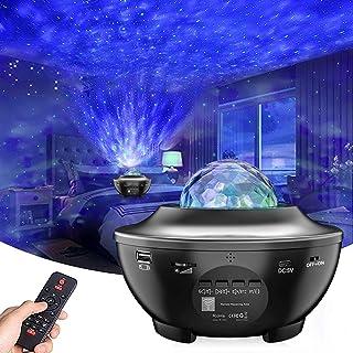 Projecteur ciel étoilé LED - Veilleuse - Projecteur Galaxy - Haut-parleur Bluetooth intégré - Pour fête de Pâques, Hallowe...