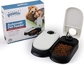 PAWISE Automatic Pet Feeder 300ml 2-Meal Automatic Food Dispenser Timed Food Bowl for Dogs Cats 27x7x24cm…
