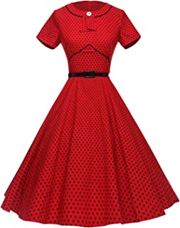 Women's 1950s Polka Dot Vintage Dresses Audrey Hepburn Style Party Dresses
