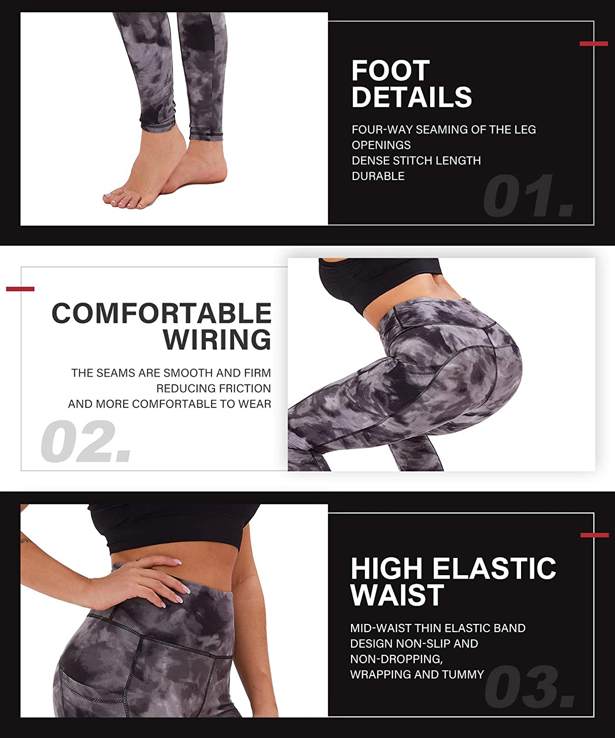 CAMPSNAIL Yoga Leggings with Pockets for Women High Waisted Tummy Control Strectchy Soft Pants for Workout Running