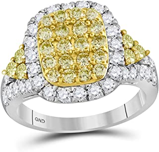 Jewels By Lux 14kt White Gold Womens Round Canary Yellow Diamond Rectangle Cluster Ring 1-7/8 Cttw In Prong Setting (I1-I2 clarity; Yellow color)