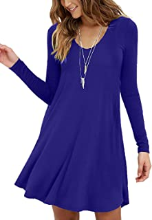 Women's Long Sleeve Casual Swing Simple T-Shirt Loose Dresses
