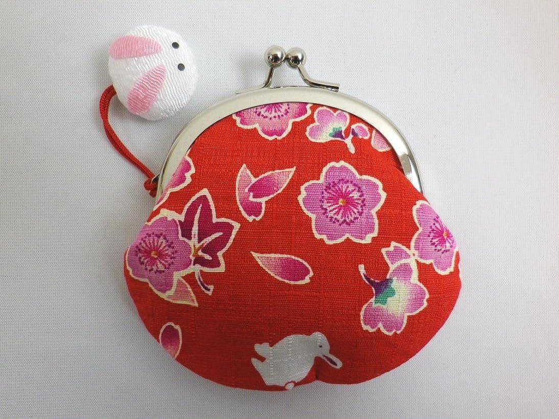タイムリーな解く分注する和柄がま口財布サイフ?小銭入れ桜楓うさぎ赤 日本製