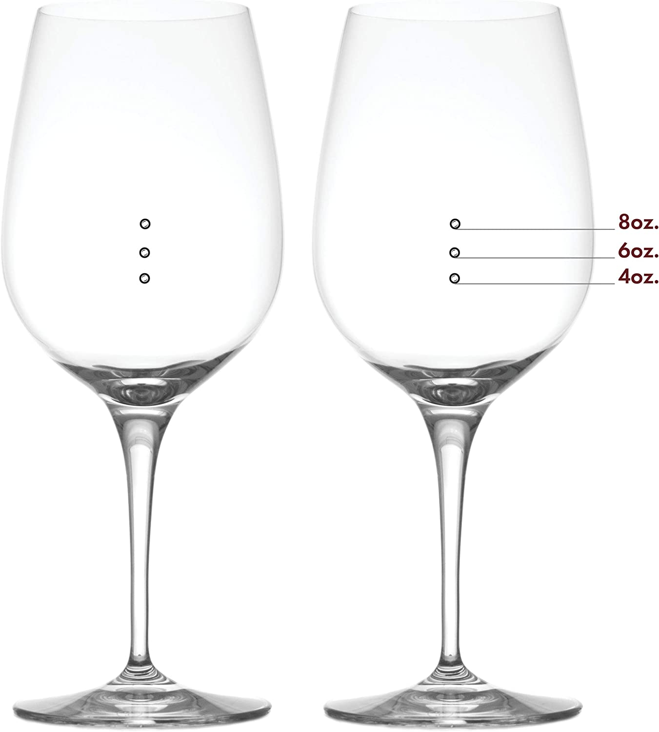 Elegance Xl Frosted Bubbles Measuring Wine Glass With Frosted Wine Measuring Marks Of 4 Oz 6 Oz And 8 Oz Wine Glass Set Of 2 Wine Glasses