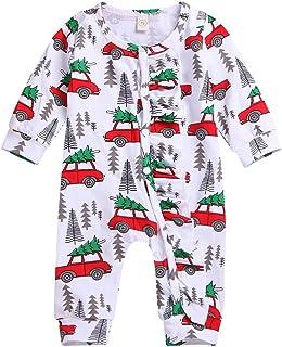 T TALENTBABY Säugling Baby Jungen Mädchen Weihnachten Druckknöpfe Baum Auto Strampler Onsises Weihnachtsmann Schlafanzüge Weihnachten Baby Outfits Overall Pyjama Sets