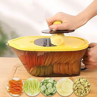 Coupe-légumes,Food Cutter Manuel Spiralizer Multifonction Coupe-oignon Dicer avec Récipient,Cuisine Trancheur de Mandoline...