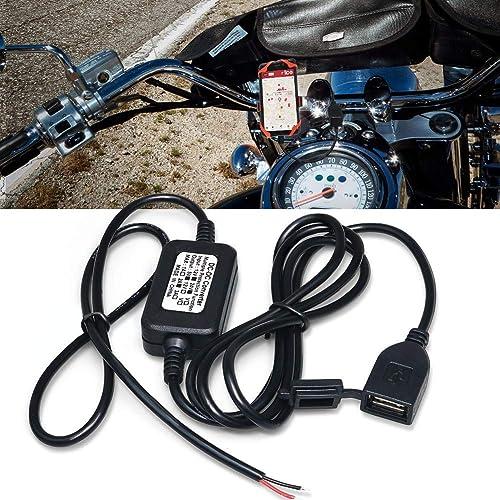 Biqing Prise USB Moto,Moto Chargeur Prise 5V 2A étanche Adaptateur d'alimentation pour Guidon de Moto Chargeur USB Po...
