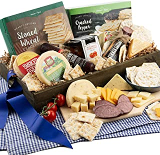 Gourmet Meat & Cheese Sampler Gift Basket - Deluxe Charcuterie Cheese Platter - GourmetGiftBaskets.com Food Gifts