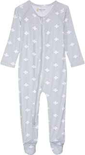 Petit Bamboo Baby Body Suit, Grey/White