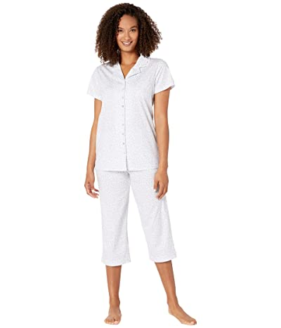 Eileen West Cotton Jersey Knit Notch Collar Capris Pajama Set (White Ground Multi Ditsy) Women