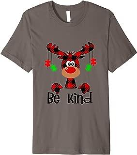Be Kind Autism Awareness Christmas Reindeer Hippie Bullying Premium T-Shirt
