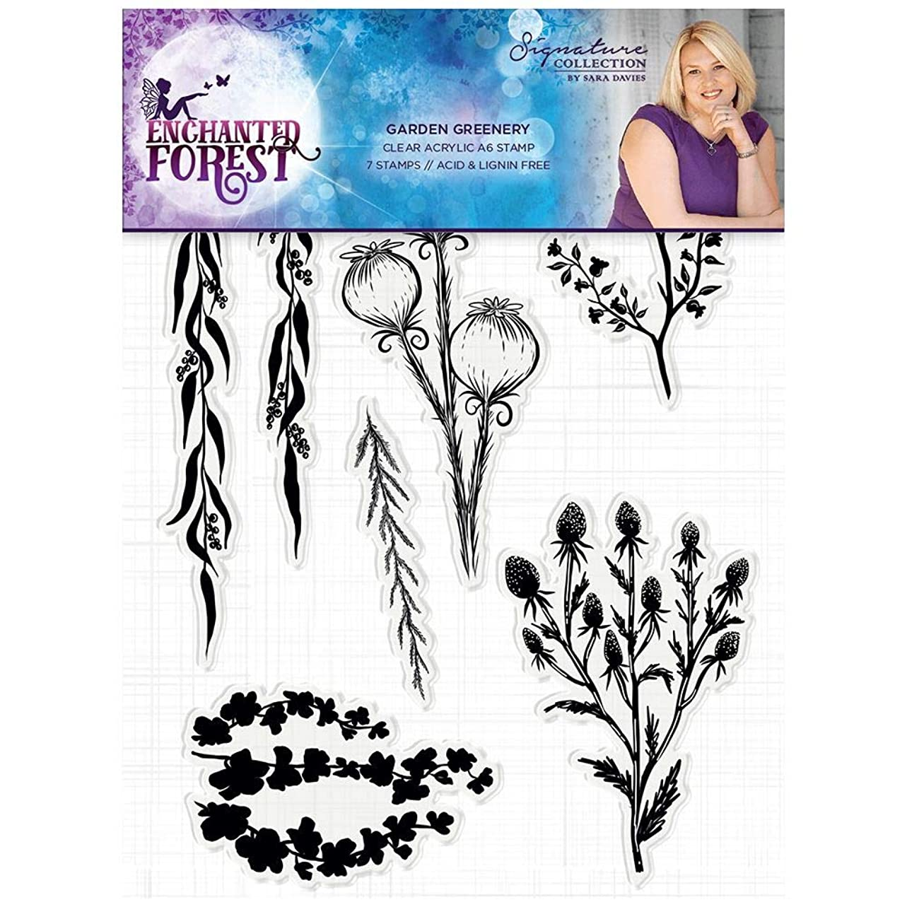 Sara Signature S-EF-ST-GG Enchanted Forest Garden Greenery Clear Acrylic Stamp, Silver eazuai350