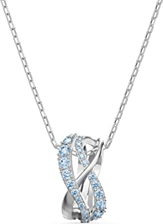 Swarovski Women's Twist Row Necklace Collection, Blue Crystals, Purple Crystals, Clear Crystals