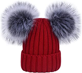 LOKTARC Women's Winter Ribbed Knitted Beanie Hat with Double Faux Fur Pom Pom