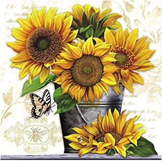Sunflower Vase Diamond Painting Kits - PigPigBoss 5D Full Round Drill Diamond Painting by Numbers - Crystal Diamond Embroi...