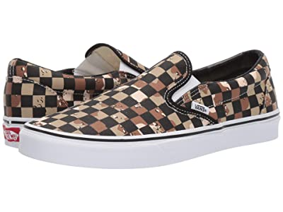Vans Classic Slip-Ontm ((Checkerboard) Camo Desert/True White) Skate Shoes