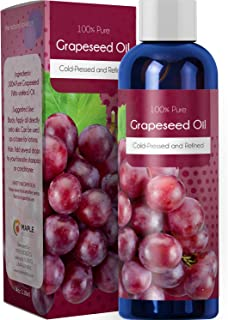 100% Pure Grapeseed Carrier Oil Natural Skin Care For Massage Therapy Detox Healthy Hair Growth Daily Moisturizer Rich in Vitamin A E K Omega 3 Fatty Acids for Acne Wrinkles Dark Circles and Collagen