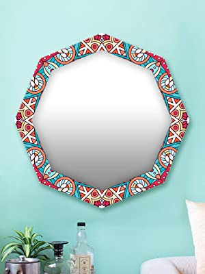 999Store Printed red and Blue Abstract Pattern Octagon Mirror (MDF_17X17 Inch_Multi)