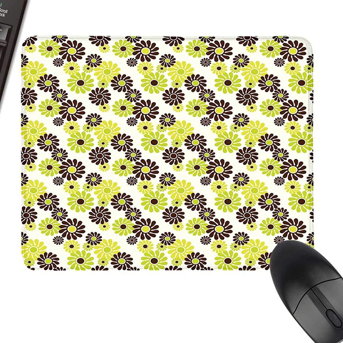 Geometric Extra Large Mouse Pad Vibrant Toned Floral Abstract Hippie Pattern Freedom Peace Natural Rubber Gaming Mouse Mat 35.4