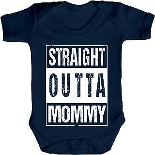 ShirtStreet Geschenkidee Gangster Hip Hop Strampler Bio Baumwoll Baby Body kurzarm Straight Outta Mommy