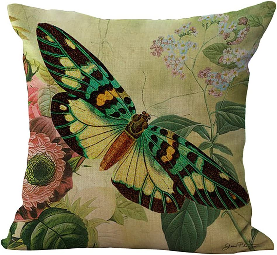 ChezMax Floral Butterfly Stuffed 40% OFF Cheap Sale Cushion Pill Throw Bombing new work Cotton Linen