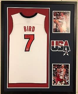 FRAMED LARRY BIRD AUTOGRAPHED SIGNED USA BASKETBALL JERSEY SCHWARTZ & BIRD HOLO
