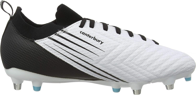 White//Black//Angel Blue Canterbury Mens Speed 3.0 Pro Soft Ground Rugby Shoe