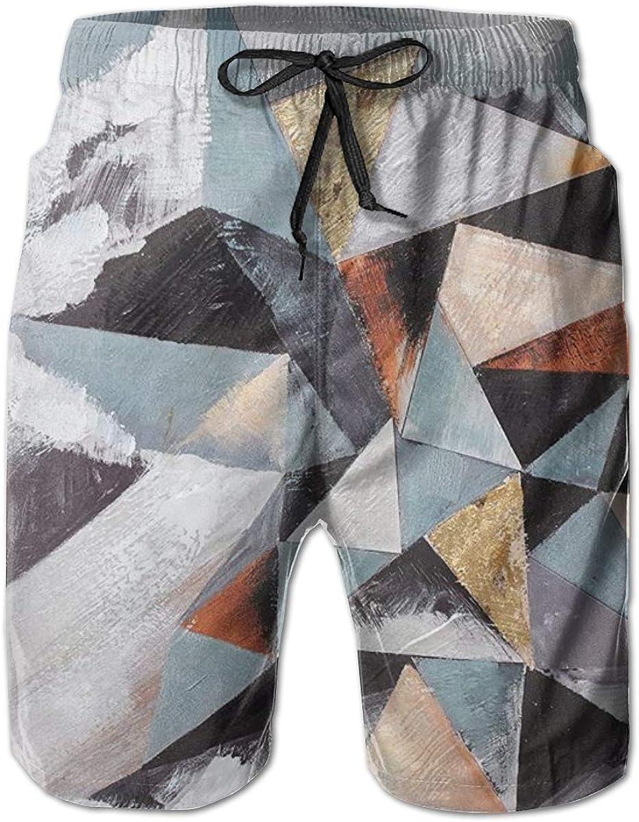 Yt92Pl@00 Mens San Antonio Mall 100% Polyester Modern Abstract Geometric Mountain New item