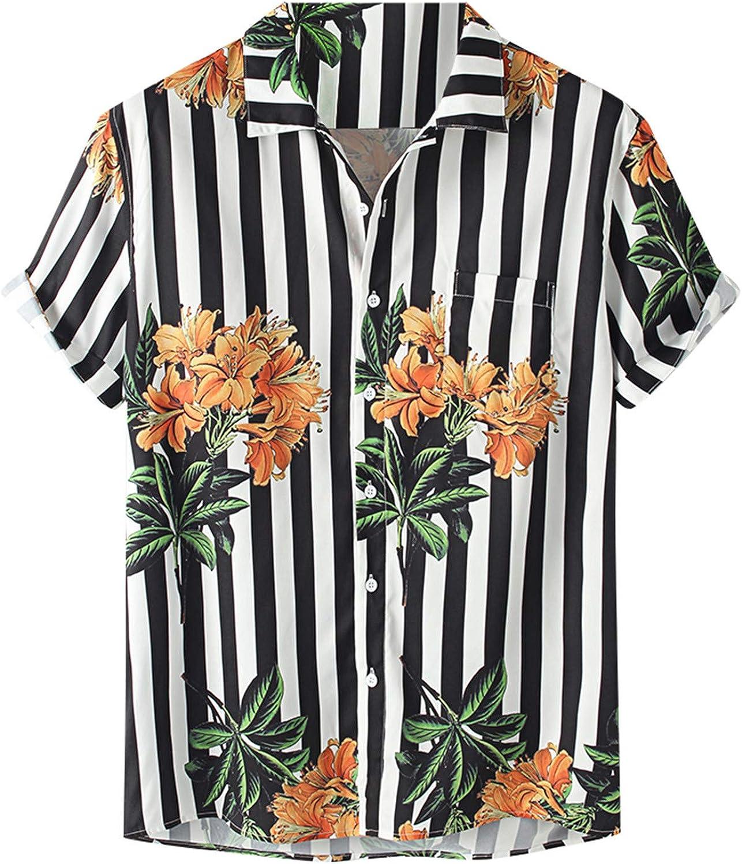 Men's Hawaiian Shirt Button Down Short Sleeve Pattern Print Blouse Summer Trendy Casual Beach T Shirt Loose Tee Top