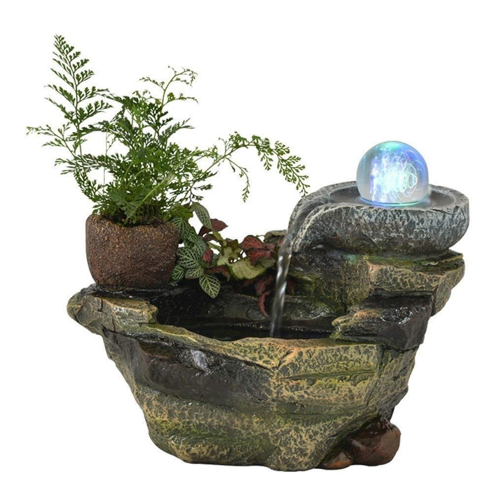 MoYek Granja de regalo de la oficina de rocalla cubierta fuente de agua de la resina de la decoración del jardín Cascada fuente tablero del estanque de peces de Feng Shui Ronda