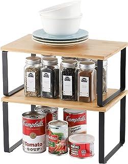 Lot de 2 étagères de rangement en métal pour placard de cuisine, Bambou Etagère Vaisselle, Organisation placard cuisine,co...