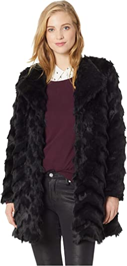 It's All Happening Chevron Faux Fur Coat
