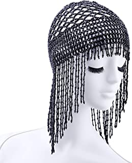 Handmade Exotic Cleopatra Belly Dance Beaded Cap Headpiece & Fashion Headwear for Dancing Wedding Party, Statement Beads Weaving Hat Hair Accessory Jewelry Black