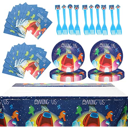 AMONG US Party Favors for kids AMONG US Party Supplies included party plate tablecloth napkins and forks