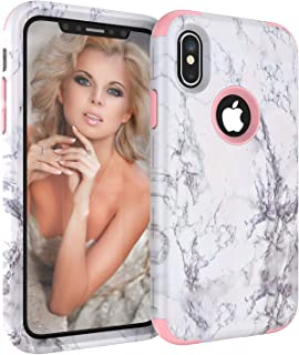 UZER iPhone Xs Max Case, Slim Fit Unique Marble Series Three Layer Soft Silicone Gel Rubber & Hard Back Cover Bumper Protective Shockproof Hybrid Impact Defender Case for iPhone Xs Max 6.5 Inch 2018